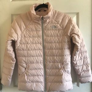 Girls Light puffer North Face jacket in pink